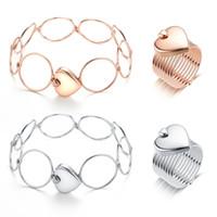 18k gold used wedding rings großhandel-Mode Liebe Herz Falten Teleskop Ring Dual-use-Armband Ring Einstellbar Rose Gold Silber Ring für Frau Armband Hochzeit