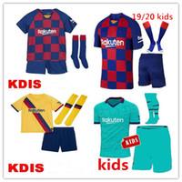 maillot de foot camisas achat en gros de-19 20 Barcelone Maillot de Foot Garçons Camisas de futbol Suarez les enfants maillot de foot 2019 2020 Messi GRIEZMANN Football kit enfant Vidal