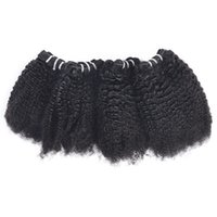 Wholesale mongolian afro weave resale online - 4PCS Brazilian Virgin Hair Extensions Afro Kinky Curly Unprocessed Peruvian Curly Hair Weave Bundles Indian Human Hair Bundles