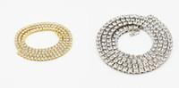 cadenas de oro 14k para la venta al por mayor-2019 venta caliente para hombre moda collar de cristal 14 k oro helado hacia fuera 1 fila de cadena de tenis HipHop collar Bling Steampunk collar