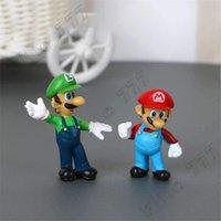 boneca de pessego super mario bros venda por atacado-Clássico Super Mario Bros Figura brinquedos com Keychain Mario Luigi Yoshi Peach Goomba King Kong PVC Dolls