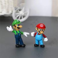 Wholesale king kong toys resale online - Classic Super Mario Bros Figure Toys With Keychain Mario Luigi Yoshi Peach Goomba King Kong PVC Dolls