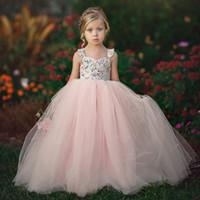 baby mädchen kleider rosa tutu groihandel-Sommer-Baby-Mädchen-Prinzessin Pink Flower Tutu-Kleid Kinder Straps Netzkleid Kinder Promkleider süßes Blumenkleid M893