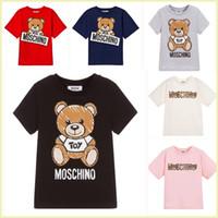 t-shirt impresso verão menina venda por atacado-Crianças Designer de Camisetas 2019 Marca Carta Imprimir Urso de Luxo Criança Tops Tee Moda Verão Roupas Boy Girl Designer de T-shirts