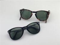 Wholesale folding sunglasses resale online - Fashion design sunglasses classic retro pilot folding frame glass lens UV400 protection eyewear with leather case