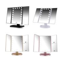 lumière de bureau réglable achat en gros de-Table de miroir de maquillage à écran de 21 lumières de table de maquillage de bureau Miroir grossissant de miroirs 1X / 2X / 3X / 10X Meuble-miroir 3 réglable BH370