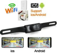 Wholesale car w resale online - 12 V DIY wireless HD blind spot License Plate wifi back up camera Car Reverse Parking detection w WiFi transmitter camera