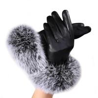 ingrosso guanti in pelle nera per le donne-Guanti donna in pelle nera autunno inverno caldo pelliccia di coniglio Guanti guanti da uomo in vera pelle ciclismo invernale termico