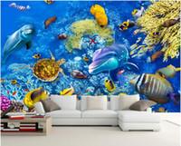Wholesale shark room decor resale online - WDBH custom photo d wallpaper Underwater world dolphin shark coral tv background room home decor d wall murals wallpaper for walls d