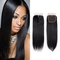 bakire malezya kinky kıvırcık saç kapatma toptan satış-Brezilyalı Virgin İnsan Saç Dantel Kapatma Perulu Malezya Hint Kamboçyalı Moğol Vücut Dalga Düz Gevşek Derin Kinky Kıvırcık Kapaklar