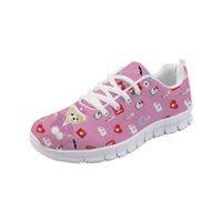 zapatillas de deporte lindas mujeres al por mayor-Zapatos rosados de las enfermeras de las mujeres Enfermero lindo Oso Patrón Pisos Señoras Zapatillas de deporte casuales Zapatos Mujer Zapatos de malla cómodos
