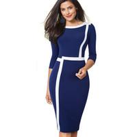 ingrosso vestito midi peplum blu-Nice-forever Vintage Optical Illusion ColorBlock Indossare al lavoro vestidos Business Party Bodycon Women Elegant Office Dress