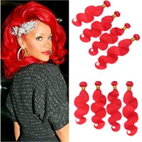 Wholesale Body Wave Malaysian Bright Red Virgin Human Weave Bundles Colored Red Body Wavy Human Hair Wefts Extensions Malaysian Hair