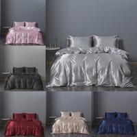 Wholesale comforter sets twin resale online - 2020 Hot selling Bedding Sets Solid Bed Suit Duvet Cover Silk Designer Bedding Supplies In Stock