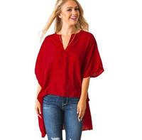 v футболка с высоким воротником оптовых-Высокое качество V-образным вырезом спереди с короткой задней частью длинный рукав летучая мышь шифон рубашка женские футболки