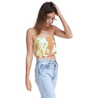 camis d'été pour filles achat en gros de-Summer Sequins Camis Débardeurs Gilet Dame Filles Sans Manches Crop Top Shirt Cami Vêtements brillant en gros