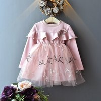 Wholesale long sleeved lace dresses children for sale - Group buy Best selling autumn new girls skirt princess dress children stitching long sleeved lace skirt dress