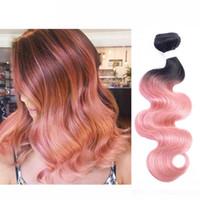 buen cabello teje al por mayor-300g T 1b Pink Rose Gold Ombre armadura del pelo humano paquetes de dos tonos de buena calidad de color brasileño onda del cuerpo peruano de la India pelo indio