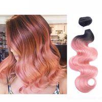 ingrosso fasci di capelli umani di rosa-300g T 1b Rosa Oro Rosa Ombre Tessuto Dei Capelli Umani Fasci Due Tonalità Buona Qualità Colorata Brasiliana Onda Del Corpo Peruviana Malese Capelli Indiani