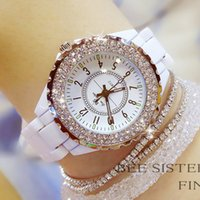 белые наручные часы оптовых-Ceramic White Watch Women Luxury Brand Diamond Quartz Female Watches Rhinestone Women Wrist Watches Reloj Montre Femme 2019