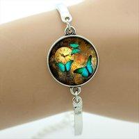 ingrosso bracciale farfalla bracciale-Steampunk ciondolo farfalla immagine in vetro cabochon cupola braccialetti con ciondolo argento piatto bracciale in metallo solido bracciale gioielli