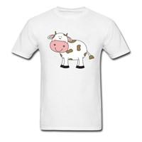 bande dessinée de vache brune achat en gros de-Vache avec des taches brunes imprimer Tops blancs Tees vente chaude drôle de conception de bande dessinée hommes drôle T-shirt vêtements mignons