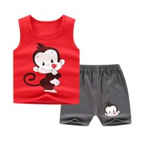 Wholesale baby boy sets monkey resale online - 2019 new baby gilrs clothes set summer baby boys body suit cotton cartoon monkey kids clothing set children s cloth suit retail