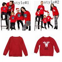 Wholesale woman children matching clothing online - Family Matching Hoodies Christmas Deer Print Parent child Outfit Long Sleeve Family Tops Kids Men Women Clothing Sweatshirts GGA1407