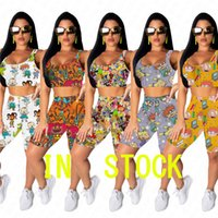 Wholesale Biker Shorts Set Woman Cartoon Print Two Piece Set Tracksuit Sexy Summer Outfits O Neck Crop Top T Shirt Short Pants Sports Suit D62912