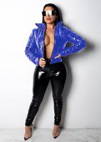 plus größe sexy lederjacken großhandel-JRRY Sexy Velvet PU Leder Mäntel Jacken Baumwolle Kunstleder Damen Jacke Reißverschlüsse Umlegekragen Mantel Plus Size XXXL