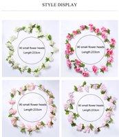 künstliche kirschblüten reben großhandel-233 cm / 90,87 zoll Künstliche Kirschblüten Blume Reben partei liefert Garland Silk Gefälschte Kirsche Blume Rattan Hochzeit wohnkultur