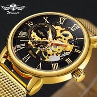 relógio de luxo vencedor venda por atacado-VENCEDOR Clássico Esqueleto de Ouro Relógio Mecânico Homens de Aço Inoxidável Strap Top Marca de Luxo Homem Assista Vip Drop Shipping Atacado