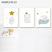 Wholesale abstract elephant painting for sale - Group buy Child Poster Elephant Cartoon Animal Moon Star Print Baby Nursery Wall Art Canvas Painting Nordic Kid Bedroom Decoration Picture