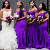 mor kadın gelin elbiseleri toptan satış-Omuz Kadınlar Biçimsel Wear Kapalı Onur törenlerinde Dark Mor Mermaid Gelinlik Modelleri Uzun Kapalı Omuz Wedding Guest Elbise Hizmetçi