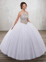 ingrosso dimensione bianca del vestito da partito 18-Princess White Tulle Halter Beads Abiti Quinceanera Abiti da festa occasioni speciali Abiti da ballo Dance Custom Size 2-18 KF1229345
