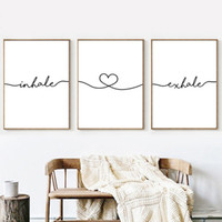 peinture de figure simple achat en gros de-Inhale Exhale Simple Quotes Wall Art Canvas Poster Minimalist Print Black & White Canvas Painting Picture Living Room Decoration Home Decor