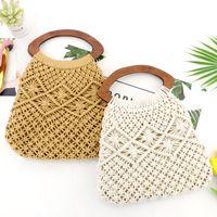 baumwollhandgriffbeutel großhandel-Holzgriff Tragbare Baumwollseilwebstrohtasche handgefertigte Netzhandtasche Strandflechtentasche