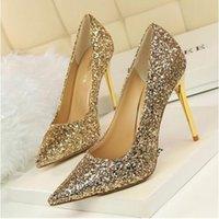 gold high heels sandalen abend großhandel-Freie Verschiffen Dame Gorgeous Nightclub Evening Shoes Superhohe Absätze Sequined Sandelholz-Frauen-Kleid beschuht Goldhochzeits-Brautkleid-Schuhe