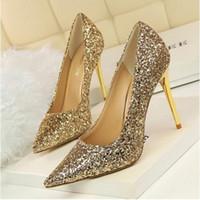 ouro sandálias de salto alto sandálias venda por atacado-Frete Grátis Senhora Linda Nightclub Sapatos de Noite Super High Heels Sandálias de Lantejoulas Vestido de Mulher Sapatos De Casamento De Ouro Vestido De Noiva Sapatos