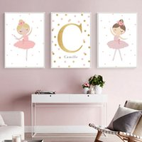 Wholesale baby nursery painting resale online - Dancing Girl Canvas Painting Wall Art Personal Nordic Name Poster Nursery Posters And Prints Custom Name Baby Girl Room Decor