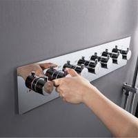 controladores de válvula al por mayor-Válvula de ducha para baño Mezcla grandes llaves de ducha de flujo de agua 6 maneras Termostático Latón Válvulas desviadoras Controlador de ducha Chrome
