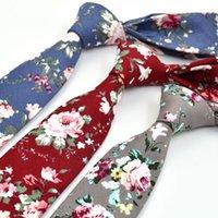 Wholesale tie dye cravat resale online - New Fashion Floral Ties For Men Skinny Mens Ties Gravatas Slim Corbatas Vestidos Wedding Cotton Groom Neck Tie Cravat Necktie
