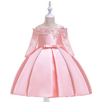 robes de piano achat en gros de-Robe de bal princesse robe de soirée en dentelle robes de performance de piano robes de haute qualité bourgeon rouge fille