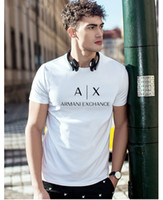 rayas blancas negras camisetas al por mayor-2019 Nuevo logotipo de la marca Camiseta para hombre Camisetas de algodón en blanco y negro Verano manga corta raya Camiseta de diseño Camiseta Tops AX