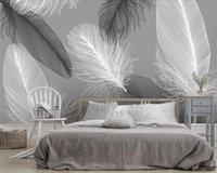 Wholesale feather decorations for sale - Group buy Beibehang Custom wallpaper modern Nordic black and white feather TV background wall home decoration d living room d wallpaper