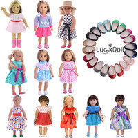 amerikan kız bebek 18 inç toptan satış-LUCKDOLL Sevimli Prenses Elbise Fit 18 Inç Amerikan 43 cm Bebek Bebek Giysileri Aksesuarları, Kız Oyuncaklar, Nesil, Hediye