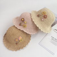Wholesale green paper flowers resale online - Hipster Green Leaves with Flowers Handmade Children s Straw Hat Foldable Wild Baby Sunscreen Hat MZ7917