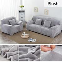 plüsch-sofas großhandel-Volltonfarbe Plüsch verdicken elastische Sofabezug Universal Sectional Schonbezug 1/2/3/4 Sitz Stretch Couch Cover für Wohnzimmer