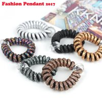 Wholesale dhl telephone for sale - Group buy 300pcs Multicolor Elastic Hair Bands Spiral Shape Ponytail Hair Ties Gum Rubber Band Telephone Wire Hair Accessories dhl shipping