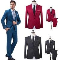 iş için resmi blazerler toptan satış-Erkekler Wedding Suit Erkek Blazers Erkekler Kostüm İş Örgün Parti Biçimsel İş Giyim Suits için Slim Fit takımları (Ceket + Pantolon) # 264163